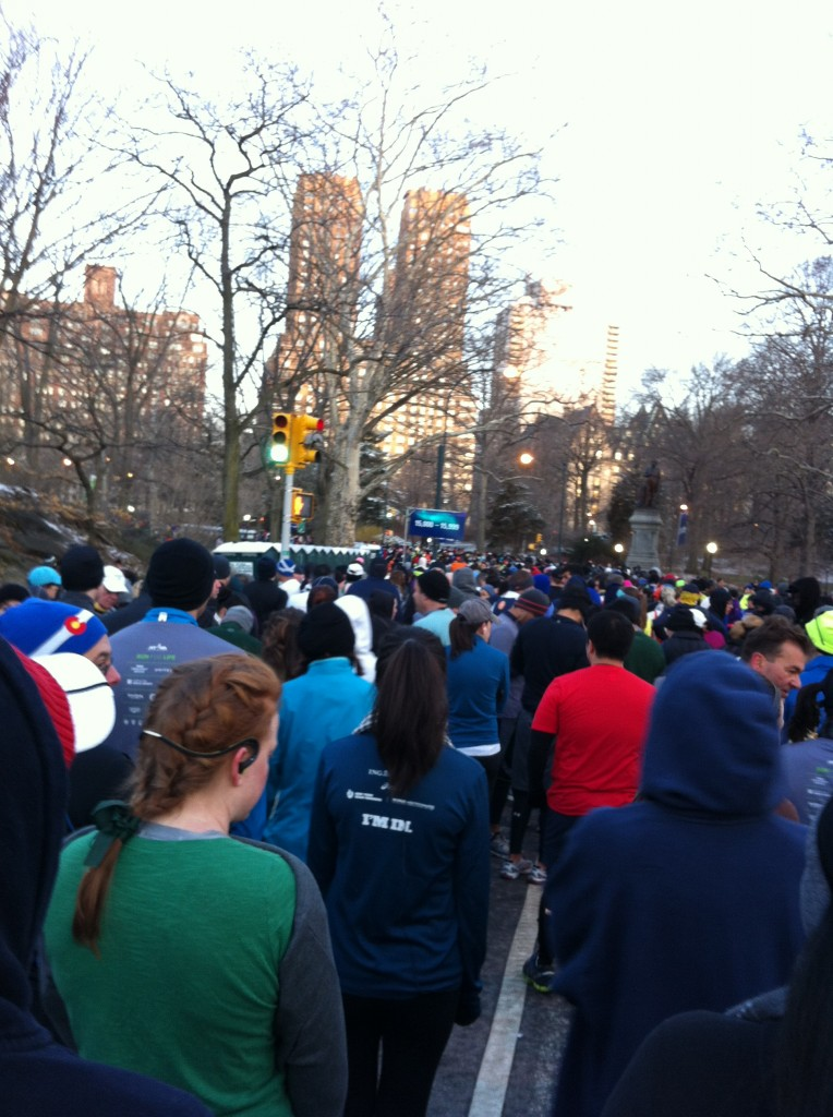 Waiting for the start, 7:15 a.m. in Central Park.  At this point the temperature was below 0 degrees.