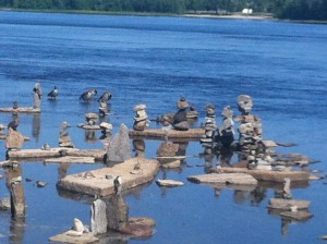 Rock sculptures seen from the Ottawa River Pathway.