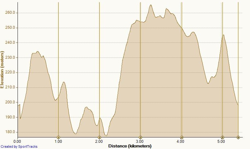 The elevation chart.  Do you see any flat areas?