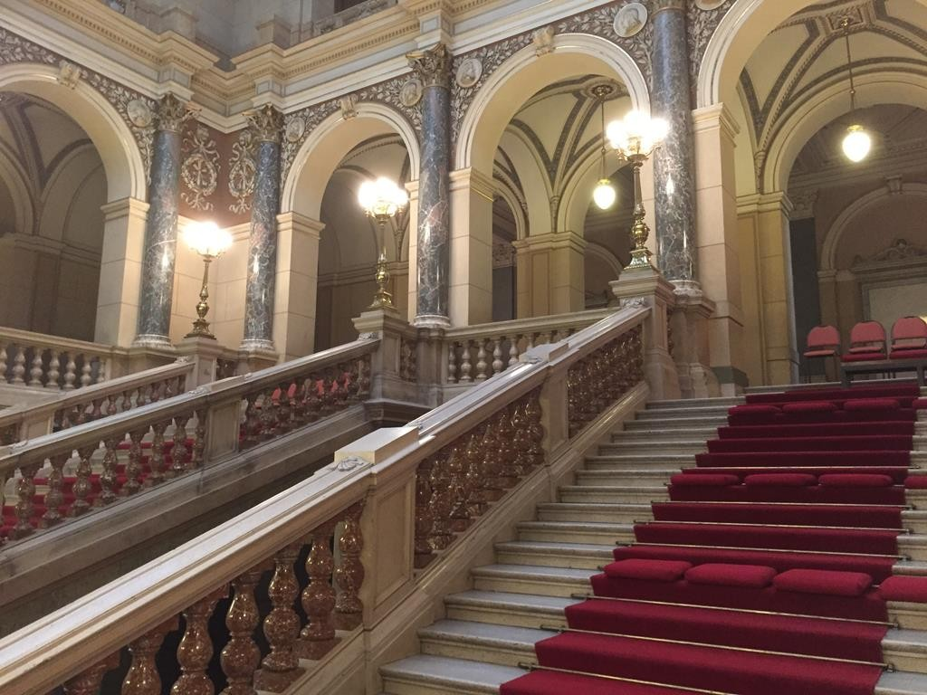 "The very grande central staircase of ""Narodni Muzem"" or the National Museum."