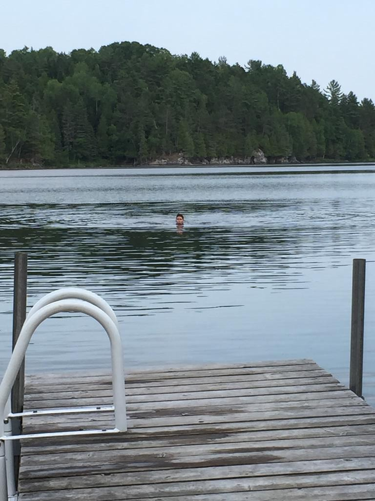 I'm actually in the lake!