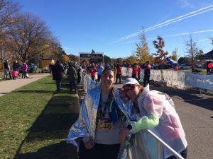 Finally finished and ready to relax with my friend Emma who finished her second half marathon!